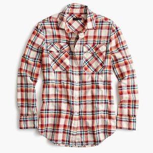 J. Crew Plaid Button Down Boyfriend Shirt